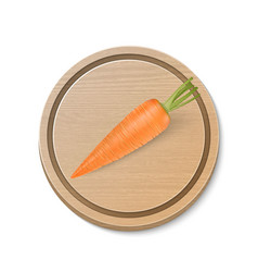 realistic carrot on wooden brown cutting vector image