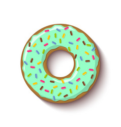 ring shaped donut covered with mint flavoured vector image