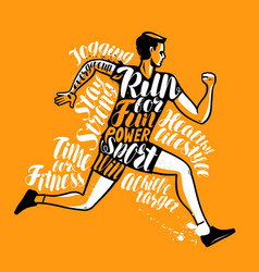 running man or sportsman sport fitness poster vector image