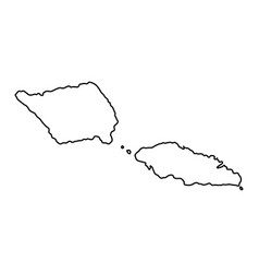 samoa map of black contour curves on white vector image