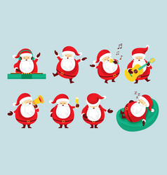 santa claus characters set party concept vector image