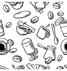 Seamless Coffee Pattern hand drawn vintage vector
