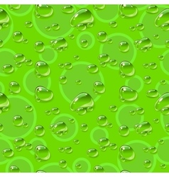 Seamless pattern Dew drops on green background vector image