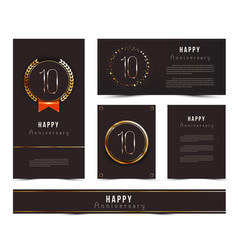 Set 10th happy anniversary cards template vector