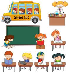 set doodle kids learning vector image