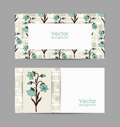 set horizontal banners with beautiful flowers vector image