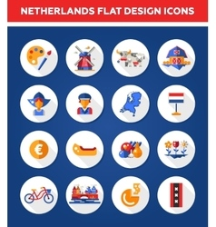 Set of flat design Holland travel icons vector image