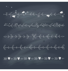 Set of hand drawn floral elements on blackboard vector