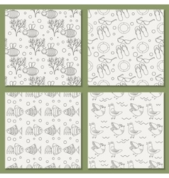 set of seamless patterns for the summer vector image