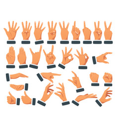 set various hands gestures vector image