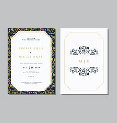 set vintage wedding invitation card vector image