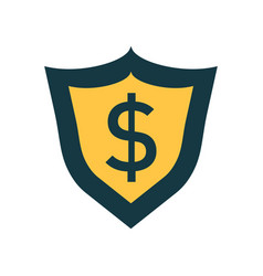 Shield with money in flat style with dollar on vector