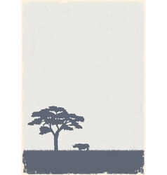 Silhouette of tree and rhino vector image