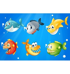 Six colorful fishes under the deep sea vector