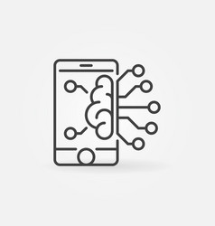 Smartphone with brain outline icon vector