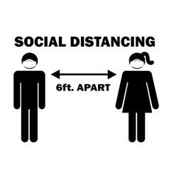 Social distancing 6 ft apart man woman stick vector
