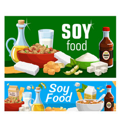soy products and soya food soybeans posters vector image
