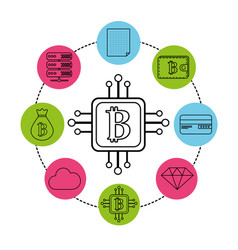 Square with circuit connection and bitcoin symbol vector