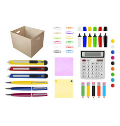 Stationery in pens pencils paper clips vector