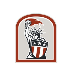 Statue of Liberty Holding Flaming Torch Shield vector