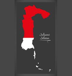 Sulawesi selatan indonesia map with indonesian vector