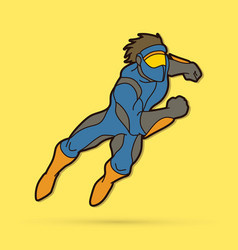 superhero running action cartoon superhero vector image
