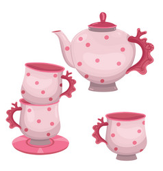 tea set teapot and mugs isolated on a white vector image