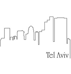 tel aviv city one line drawing vector image