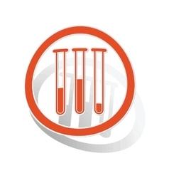 Test-tubes sign sticker orange vector image