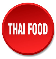 Thai food red round flat isolated push button vector