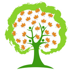 Tree autumn leafs icon vector
