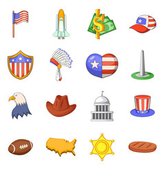 Usa travel items icons set cartoon style vector
