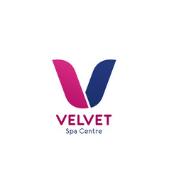 v letter icon for spa center vector image