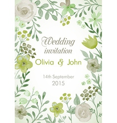 Wedding invitation with flowers and leaves vector