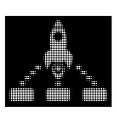 White halftone space rocket collaboration icon vector