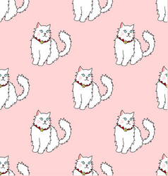 white persian cat on pink background vector image
