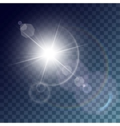 White sun with light effects vector