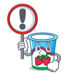 with sign yogurt character cartoon style vector image