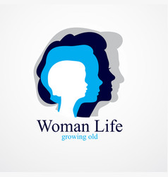 Woman life age years concept time life vector
