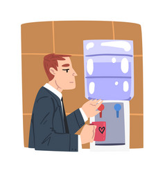 young man drinking water at cooler businessman or vector image