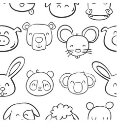 collection stock of animal head cute style vector image