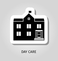 day care black building sticker vector image