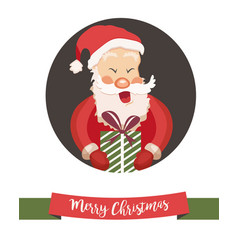 holiday card with funny santa claus vector image vector image