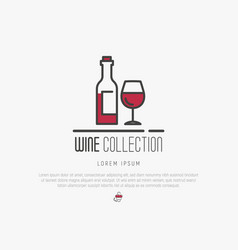 logotype of wine and wine making modern thin line vector image
