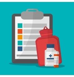 Medicine history bag and medical care design vector