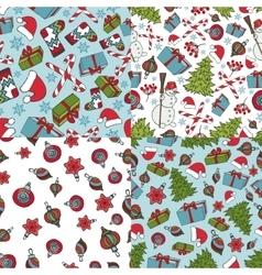 Christmas samless patternsWinter doodles symbols vector image