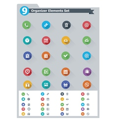 Flat organizer elements icon set vector image vector image