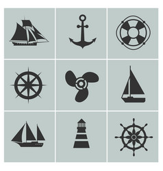 Marine and shipping icons boat ship or yacht vector