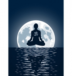 yoga over moon background vector image