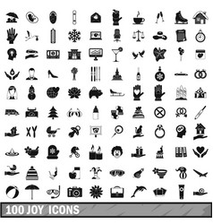 100 joy icons set simple style vector image vector image